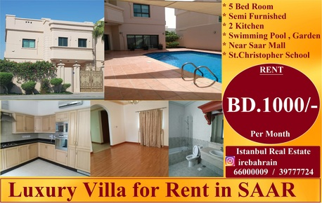 Saar, Apartments/Houses, BHD 1000 / month - 5 BR - Semi Furnished Luxury Villa With Swimming Pool For Rent In Saar
